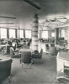 Cafe & Grille, SS Normandie, French Line (CGT) 1935.