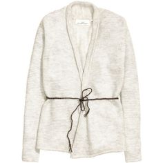 H&M Cardigan in a mohair blend ($38) ❤ liked on Polyvore featuring tops, cardigans, light grey marl, woven top, long sleeve tops, marled cardigan, tie belt and h&m
