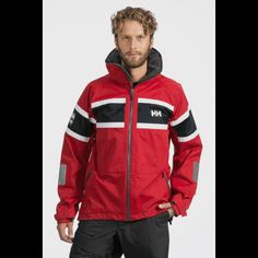 """Salt Jacket.  The Classic Helly Hansen Salt Jacket is using the signature Helly Hansen Marine Flag Stripe as first used for the Norwegian Whitbread entry """"Berge Viking"""". One of the most popular, proven and reconditioned jackets on the water. Lined, waterproof construction and fleece lining in the collar and pockets keep you warm and dry, while adjustable fit features enhance comfort."""