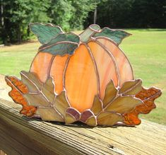 Autumn Harvest Stained Glass Candle Holder no. 3 by hobbymakers, $45.00