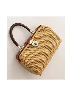 1960 Wicker Handbag Leather handle by lesclodettes on Etsy