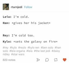 I don't know if I'm all aboard the reylo ship yet, but this is hilarious