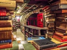 The Last Bookstore in downtown LA known for it's vaulted ceilings and enormous pillars with an upstairs section where everything is $1!