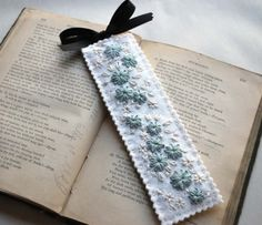 Hand Embroidered Wool Felt Bookmark Ivory Blue by lovemaude
