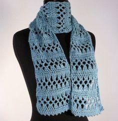 Crochet Lace Scarf Meditation Prayer Scarf #Bluegreen #Handmade #Spring_Fashion Free Shipping by peacefulpath, $32.00