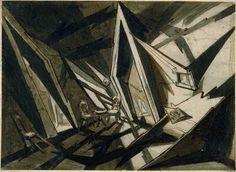 Dessin de André Andrejew pour Raskolnikoff de Robert Wiene, 1923