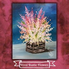 "Spend next Sat afternoon, June 17, with us and paint these ""Vivid Rustic Flowers"" with us. Invite your friends and have a fun afternoon together! Join us at Painting with a Twist – Indy! ©Painting with a Twist."