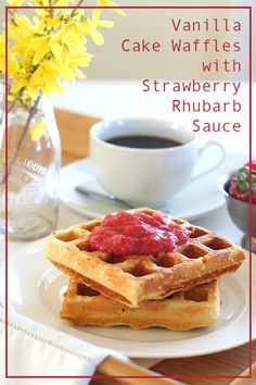 Low Carb Vanilla Cake Waffles with Strawberry Rhubarb Sauce
