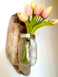Mason Jar mounted on driftwood - use as a vase, candle holder, toothbrush holder - many things. coming soon