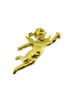 This vintage gold angel brooch features a small angel or cherub flying with a rhinestone star accent. Cherub, Lion Sculpture, Angel, Statue, Retro, Brooches, Gold, Vintage, Products