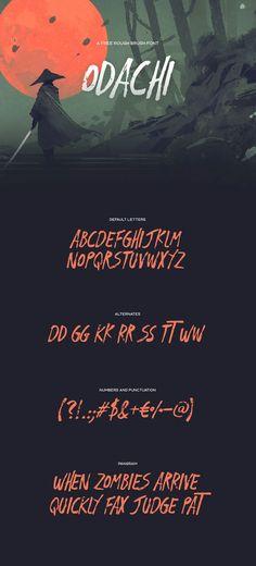 Font design - Odachi - Free Brush Font by Mehmet Reha Tugcu Graphic Design Fonts, Web Design, Type Design, Typeface Font, Calligraphy Fonts, Calligraphy Alphabet, Islamic Calligraphy, Fonte Free, Letras Cool