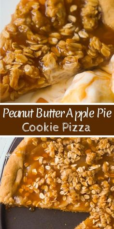 Peanut Butter Apple Pie Cookie Pizza is an easy dessert recipe for peanut butter lovers.A peanut butter cookie crust is topped with apple pie filling, peanut butter oat crumble and drizzled with caramel syrup. Healthy Apple Desserts, Apple Recipes Easy, Healthy Vegan Snacks, Best Dessert Recipes, Pizza Recipes, Baking Recipes, Diet Recipes, Delicious Desserts, Pastries Recipes