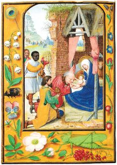 Postcard Adoration 3 Magi Kings Wise Men Nativity Illuminated Manuscript Art | eBay