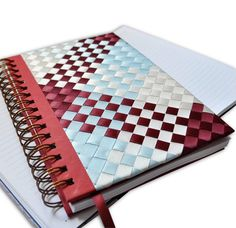 Notebook / Journal, 6 x 8.5, Hand woven in Satin Ribbons