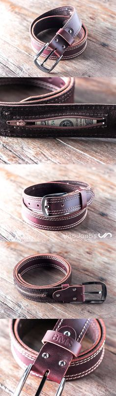 Handmade Mens Leather Belt by JooJoobs.com This belt has a secret, hidden pocket sewn into the inside lining. The belt is handmade and will last a lifetime. #JooJoobs #handmade #belt