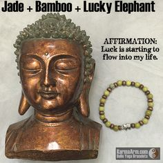 Jade is said to bless whatever it touches, serving mankind across the globe for nearly 6,000 years.   GOOD FORTUNE: Jade + Bamboo + Lucky Elephant #yoga # Mala # Bead #Bracelet #mens #bracelets #womens #healing #spiritual #meditation #crystal #crystals #love #style #luck #lucky #artisan #handmade #jewelry #artisan #OOAK  #fallfashion #love #blessed #black #fashion #mens #buddha #jade