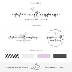 Purple Heart Logo Package, Watercolor Logo Design, Business Logo, Small Business Branding, Watercolor Branding, Etsy Logo, eps Logo