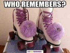 Pom Pom's for Rollerskates. Oh my Gosh! I loved my skates and went skating every weekend. I had Blue laces with Blue and white pom poms. Roller Derby, Roller Skating, Roller Rink, Skating Rink, Skating Party, Those Were The Days, The Good Old Days, Lisa Frank, Childhood Toys
