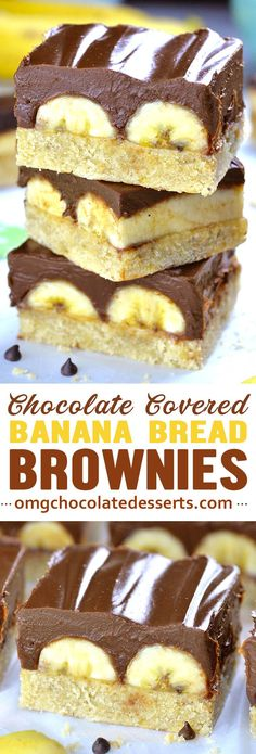 Chocolate Covered Banana Brownies is the most decadent version of chocolate covered bananas you'll ever tried! Super moist banana bread brownies taste great even without the frosting. Brownie Desserts, Oreo Dessert, Mini Desserts, Coconut Dessert, Brownie Recipes, Chocolate Desserts, Just Desserts, Delicious Desserts, Cake Recipes