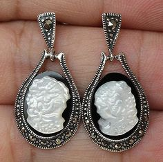 9cts Black Onyx Mother Of Pearl Shell Cameo & Marcasite Earrings Sterling Silver  100% SOLID 925SS & NATURAL STONE + GEM REPORT
