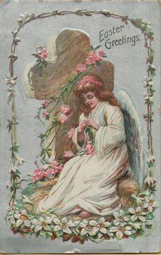 Vintage Easter Angels  Greetings Postcard Religious Card Victorian Embossed 1909 #Easter