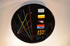Round glass platter in an abstract pattern (PL-48)