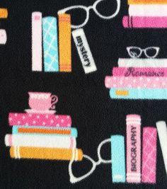 "My ""book print"" @ Joann Fabric. Anti-Pill Fleece Novels And Glasses On Black"