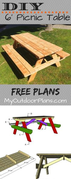 Free plans for building a 6 foot picnic table. This table features benches on bo .Free plans for building a 6 foot picnic table. This table features benches on both sides and a large tabletop. Diy Picnic Table, Outdoor Picnic Tables, Diy Table, Pinic Table, Folding Picnic Table Plans, Garden Bench Table, Outdoor Table Plans, Wooden Picnic Tables, Easy Wood Projects