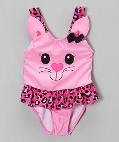 Look at this #zulilyfind! Pink Kitty Skirted One-Piece - Infant, Toddler & Girls #zulilyfinds