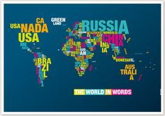 Geography meets typography: The world in words. via typomaps.net