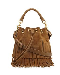 Small Suede Fringe Bucket Shoulder Bag, Tan by Saint Laurent at Neiman Marcus.