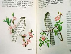 DIY idea - cut outs from book pages and frame for instant art