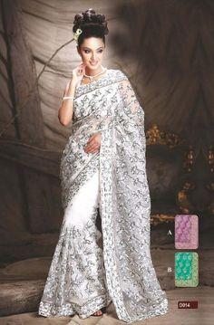 White Indian Wedding Dresses | White Designer Trendy Saree Glass Tissue Latest Exclusive Indian Fa... Indian Wedding Gowns, Wedding Sari, Indian Bridal, White Wedding Dresses, Indian Dresses, Trendy Sarees, Stylish Sarees, Saris, Bridal Sari