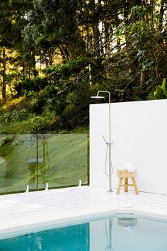 Installing an outdoor shower is not only efficient, but classy looking. Backyard Pool Designs, Backyard Landscaping, Garden Swimming Pool, Swimming Pools, Outdoor Pool Shower, Houses Architecture, Three Birds Renovations, Pool Cabana, Exterior