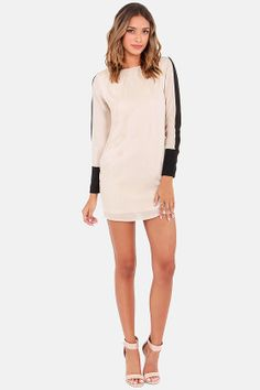 Shift Into Gear Black and Beige Shift Dress at LuLus.com!