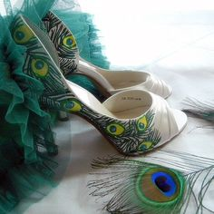 Wedding Shoes Peacock feathers painted art deco Peep by norakaren, $225.00