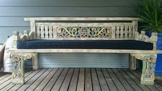 Daybed - Unique, hand carved, solid. Comes with custom made cushion. New