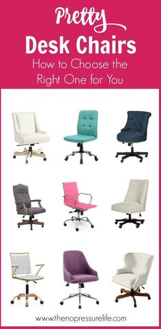 Learn how to choose a functional and feminine desk chair for your home office or craft room! These desk chairs for women are pretty and practical! | The No Pressure Life #DeskChair