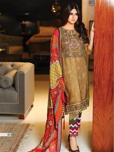 and Multicolor Embroidered Lawn Pakistani Style Indian Suit Latest Salwar Suits, Summer Suits, Indian Suits, Indian Ethnic, Salwar Kameez, Summer Collection, Printed Cotton, Pakistani, Chiffon