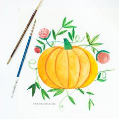 Come over to the blog and see how I did this vintage pumpkin illustration using watercolors.
