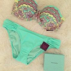 swimwear bikini victoria's secret gorgeous underwear blue summer light blue aqua yellow pink cute girly tiffany blue, bathing suit, neon, tie back, cute, swim suit, bikini, bandeau bikini blue swimwear green
