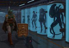 Boba Fett, bounty hunter and collector. ByAaron Goodlad - Photos of Classic Star Wars Star Wars Fan Art, Star Trek, Starwars, Arte Alien, Predator Movie, Epic Pictures, Images Star Wars, Aliens Movie, Movies And Series