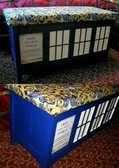 Doctor Who Storage Bench, Ottoman -- The person that made this is genius! Diy Inspiration, Geek Out, Dr Who, Tardis, Nerdy, Geek Stuff, Diy Projects, Doctor Who Bedroom, Doctor Who Nursery