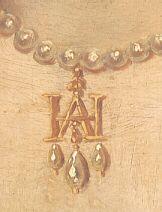 Gold entwined H A pendant, from portrait of Anne Boleyn