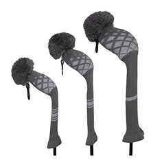 Scott Edward Low-key Grey Reticulated Pattern Golf Head Covers Set of 3 for Driver 460cc, Fairway Wood, and Hybrid/Utilities