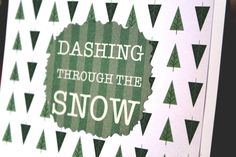 Handmade Christmas Card/Dashing Through the Snow/Modern Trees/Unique/One of a Kind by TresorValeur on Etsy