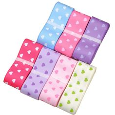 SURKER 7 Pcs DIY 0.87 inch Width Love Heart Child Ribbons HA01303(7) * You can find more details by visiting the image link.