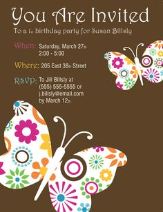 Email Birthday Party Invitation Luxury Items Similar to butterfly Garden Birthday Party Butterfly Birthday Party, Garden Birthday, 1st Birthday Parties, 85th Birthday, Birthday Invitation Card Template, Birthday Invitation Templates, Birthday Party Invitations, Birthday Cards, Butterfly Invitations