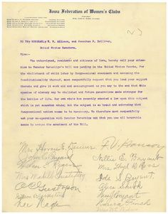 Petition from the Iowa Federation of Women's Clubs to their U.S. Senators in Favor of Child Labor Reform, 12/21/1907