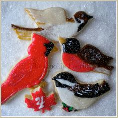"""""""On the 4th Day of Christmas my friends I give to thee: Four Wild Songbirds..."""" Glazed Sugar Cookies by Robin Traversy {The Cookie Faerie}. Cookie Connection Christmas Countdown Challenge."""